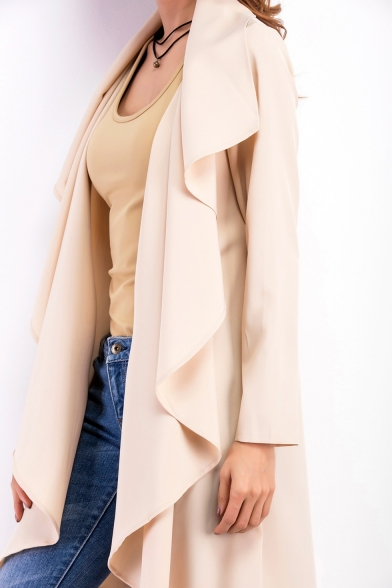 New Trendy Chic Waterfall Collar Long Sleeve Open Front Plain Trench Coat