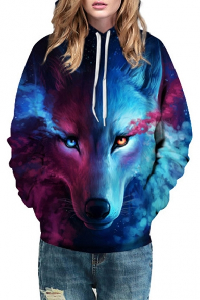 Color Wolf Sleeve Long Printed Sweatshirt Hoodie Block 3D arOqaw