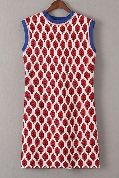 Fashion Leaves Printed Color Block Round Neck Sleeveless Mini Shift Tank Dress