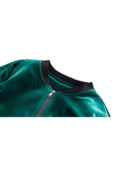 Collar Sleeve Placket Fashion Zip Jacket Zipper Long Pocket Bomber Up Stand w6gIZIq