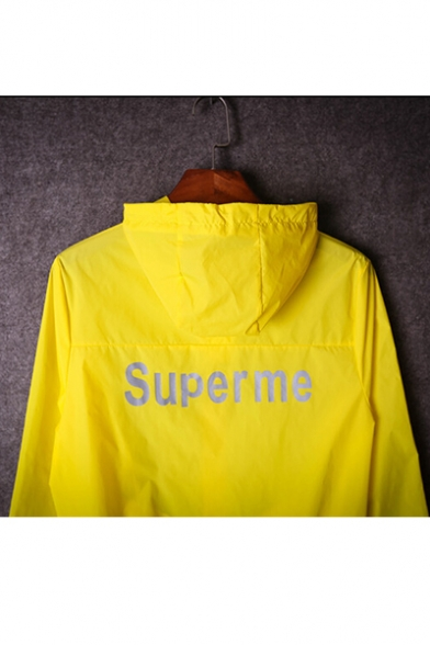 Hot Fashion Letter Pattern Long Sleeve Hooded Zip Up Sun Coat for Couple
