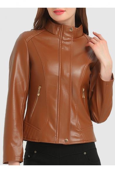 New Fashion High Neck Long Sleeve Zipper Placket Plain PU Biker Jacket