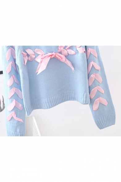 Sleeve Pullover Long Embellished Round Fashion New Neck Tie Sweater Ribbons wWBqxHf04R