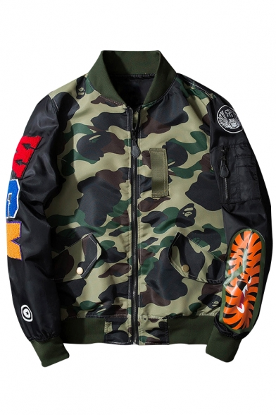 Long Zip Bomber Jacket Up Patched Sleeve Camouflage Classic Pattern Retro qRxwHZ