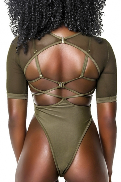One Sheer Neck Back Out Piece Plain Swimwear Hollow Sleeve Sexy Round Mesh Short WBqvRxwUA