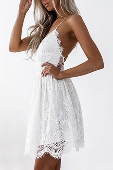 Simple Plain Backless Chic Lace Inserted Mini A-Line Slip Dress