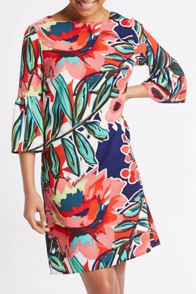 Summer's Floral Printed Flared Sleeve Square Neck Midi Shift Dress