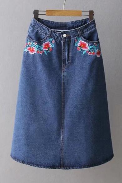 symmetric embroidery floral pattern maxi denim a line
