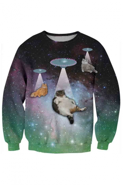 Beautiful Cat Galaxy 3D Printed Long Sleeve Round Neck Pullover Sweatshirt