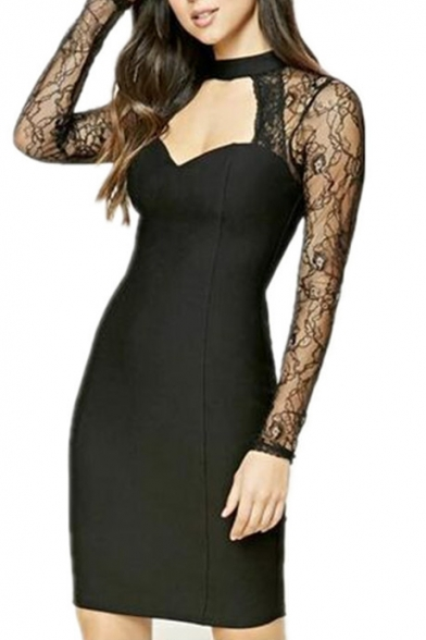 Chic Sexy Sheer Lace Inserted Long Sleeve High Neck Mini Bodycon Dress