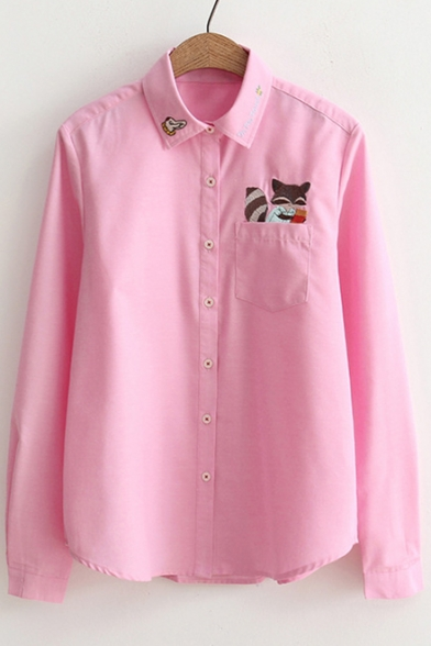 Sleeve One Fox Breasted Cartoon with Long Cute Pattern Embroidery Shirt Pocket Single Hc6fnXv