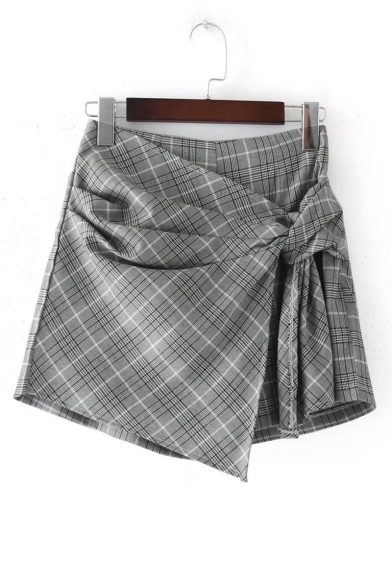 Fashion Asymmetric Wrap Front High Waist Plaid Skort