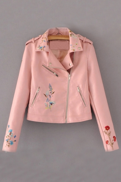 Купить со скидкой New Collection Floral Embroidered Notched Lapel Collar Zip Up Biker Jacket