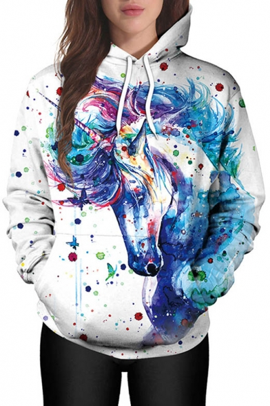 New Fashion 3D Colored Painted Unicorn Pattern Long Sleeve Hoodie