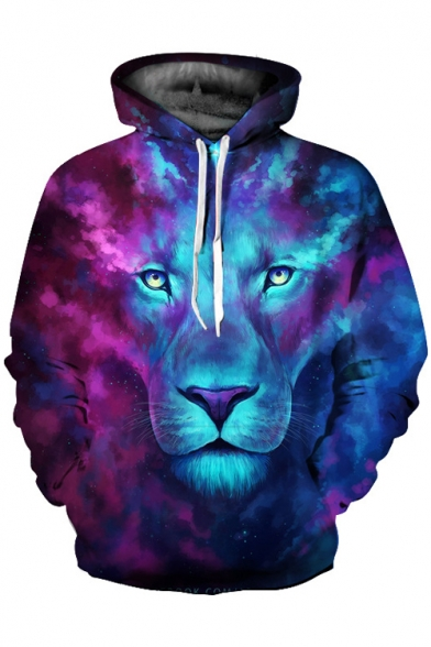Unisex Casual New Digital Leisure Lion Fashion Ombre Hoodie Pattern SPqB1