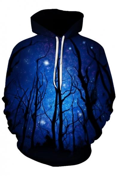 New Stylish Digital Galaxy Forest Pattern Long Sleeve Casual Hoodie