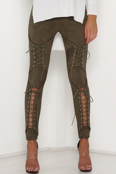Sexy Hollow Out Lace-Up Basic Simple Plain Skinny Pants