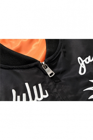 Jacket Sleeve Bomber Street Zip Up Long Skull Fashion Eagle Embroidered Letter Style xO4R40qwvP