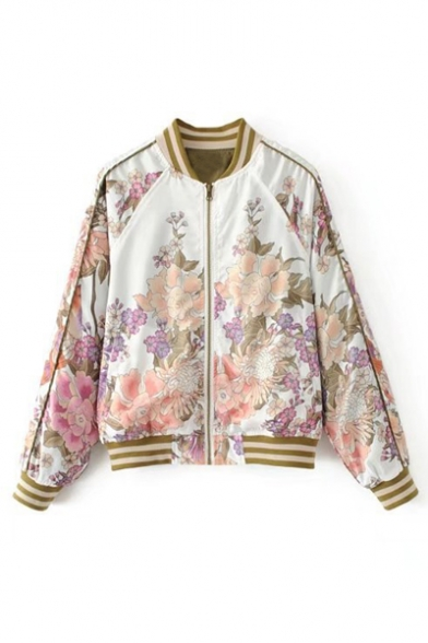Up Baseball Floral Jacket Raglan Printed Striped Stand Long Collar Sleeve Up Zip wOqZnvza