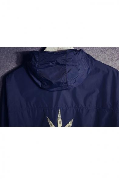 Unisex Contrast Printed Back Zip Fly Long Sleeve Hooded Coat