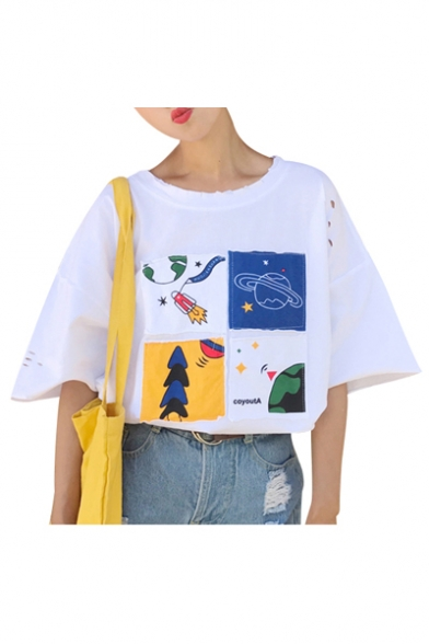 Half Out Shirt Leisure Neck Patched Cartoon Casual T Round Hollow Sleeve fpwIn0qqa