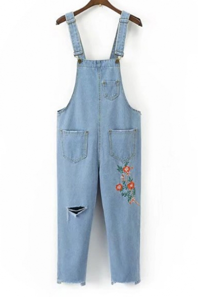 Chic Floral Embroidered Fashion Ripped Out Casual Leisure Denim Overalls Pants