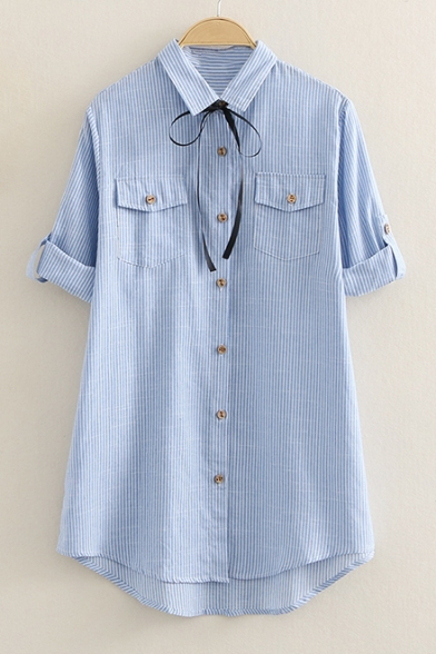 Pockets Cotton with Double Striped Pattern Lapel Collar Long Classic Sleeve Shirt PgqZUW