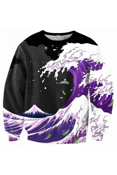 Sleeve Block Printed Sea Round Long Color Pullover Wave Sweatshirt Neck aTwXnqqpx