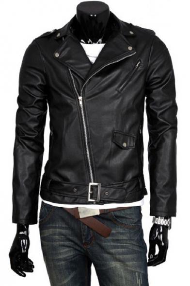 Cool Oblique Zip Fly Notched Lapel Plain Biker PU Jacket
