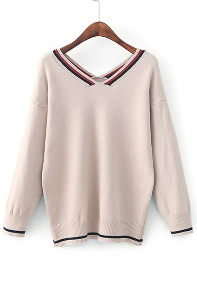 Double V Neck Long Sleeve Color Block Casual Loose Pullover Sweater
