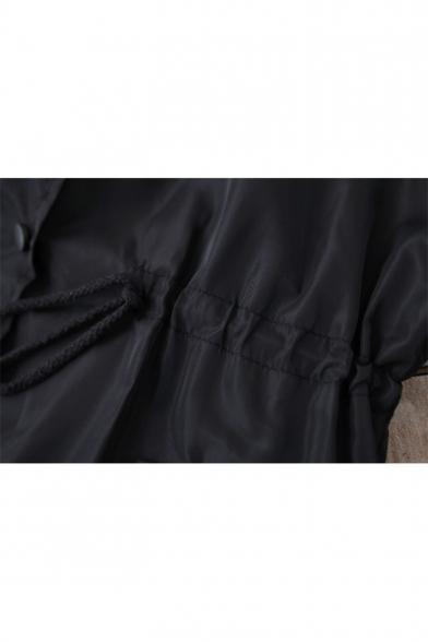Fashion Elastic Waist Simple Plain Hooded Long Sleeve Zip Up Longline Coat