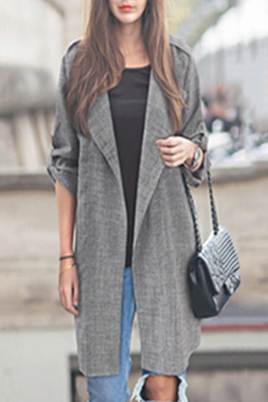 Fashion Simple Plain Long Sleeve Notched Lapel Collar Blazer Coat