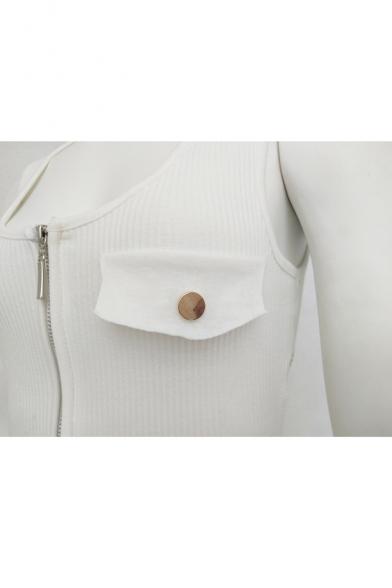 2c2cd13dc665 ... Hot Fashion Basic Plain Sexy Scoop Neck Zip Up Sleeveless Bodysuit with  Pockets ...