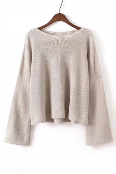 Leisure Neck Pullover Sleeve Casual Plain Long Boat Sweater Loose Pawvgqq