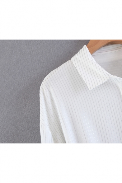 New Arrival Basic Striped Pattern Lapel Collar Long Sleeve Loose Shirt