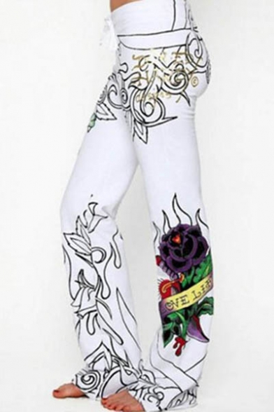 New Arrival Skull Floral Printed High Waist Straight Pants
