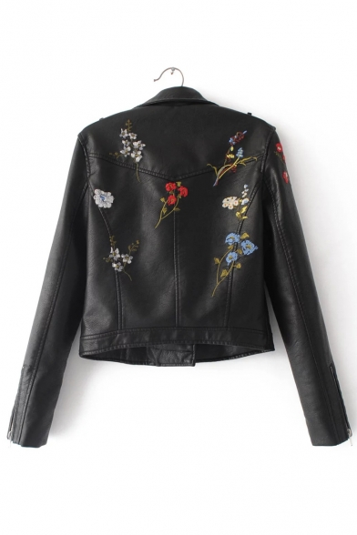 Up Biker Collection Notched Zip Lapel Jacket Embroidered New Collar Floral F0aqwxwgp