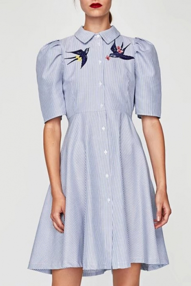 Women S Lapel Embroidery Bird Pattern Short Sleeve Striped