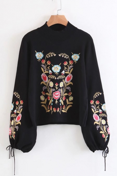 Sleeve Neck Sweater Lantern Floral Chic Mock Pullover Embroidered q7FtUX