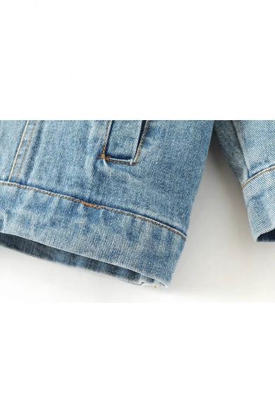 Detachable Hooded Long Sleeve Single Breasted Lapel Denim Jacket