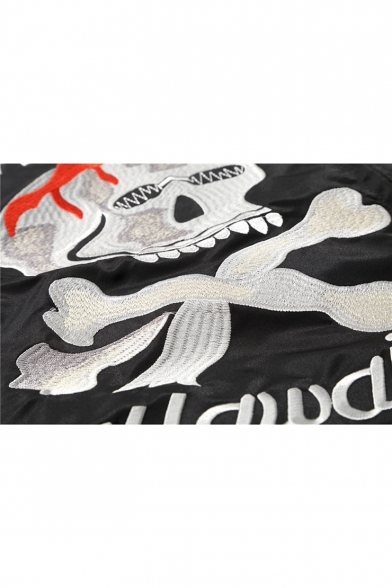 Street Style Fashion Letter Skull Eagle Embroidered Long Sleeve Zip Up Bomber Jacket