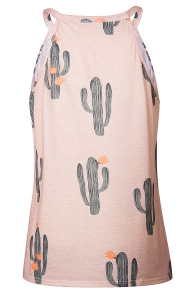 Tank Fashion Loose Tee Sleeveless Summer's Cactus Neck Pattern Round 0TxB47zn