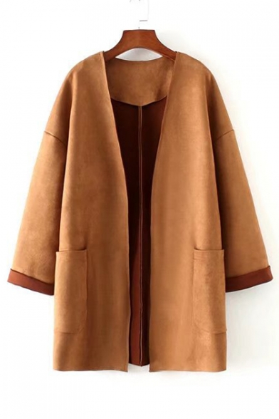 Winter Collection Open Front Dropped Long Sleeve Plain Tunic Coat