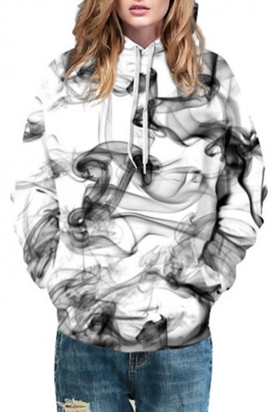 Chic Color Block Smoke Printed Long Sleeve Hoodie