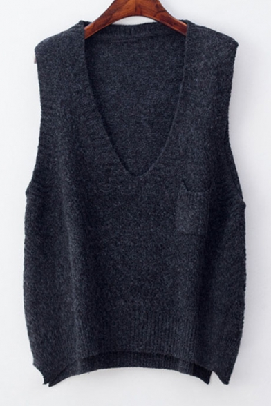 Fashion V Neck Sleeveless High Low Hem Basic Plain Sweater Vest ...