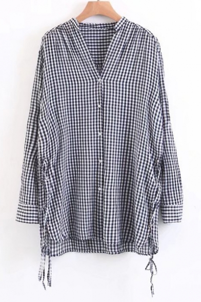 Long sleeve v neck tied up side classic plaids pattern for Custom pattern button down shirts