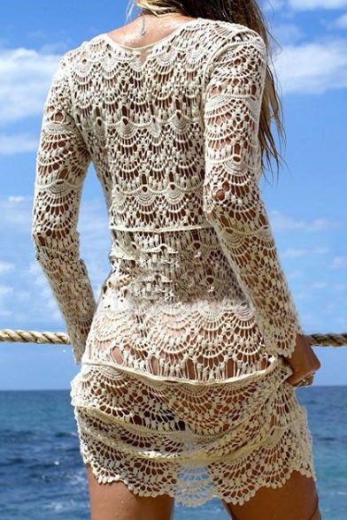 f0ca27227970f ... Sexy Lace Hollow Out Plunge Neck Long Sleeve Plain Outdoor Beach Cover  Up Swimwear