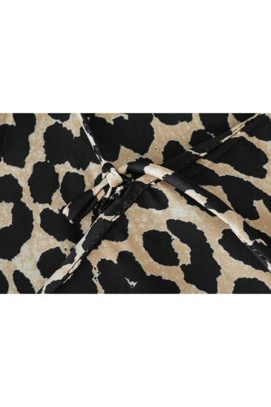 Sexy Leopard Pattern Color Block Sleeveless Spaghetti Straps Ruffle Hem Midi Cami Dress