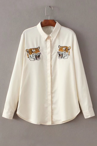 Tiger Long Collar Symmetrical Down Embroidered Lapel Buttons Shirt Head Sleeve 4Hpxqd