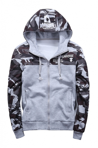Casual Leisure Fashion Color Block Camouflage Pattern Zip Up Hoodie